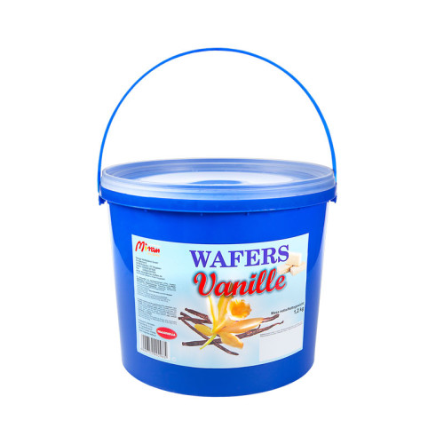 Wafers with vanilla flavoured filling in a bucket