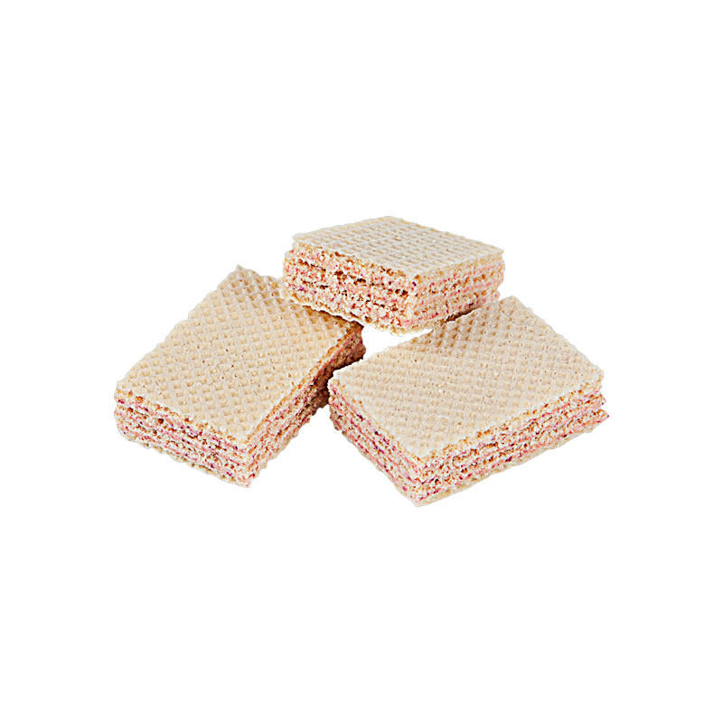 Wafers with strawberry flavoured filling